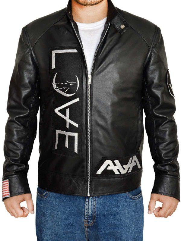 black men leather jacket, american music black leather jacket,