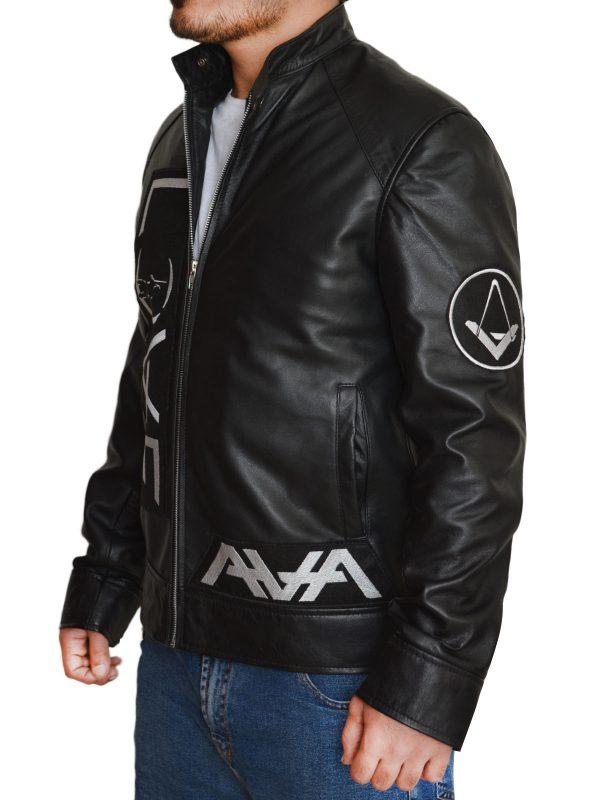 slim fit black leather jacket, dashing black men leather jacket,