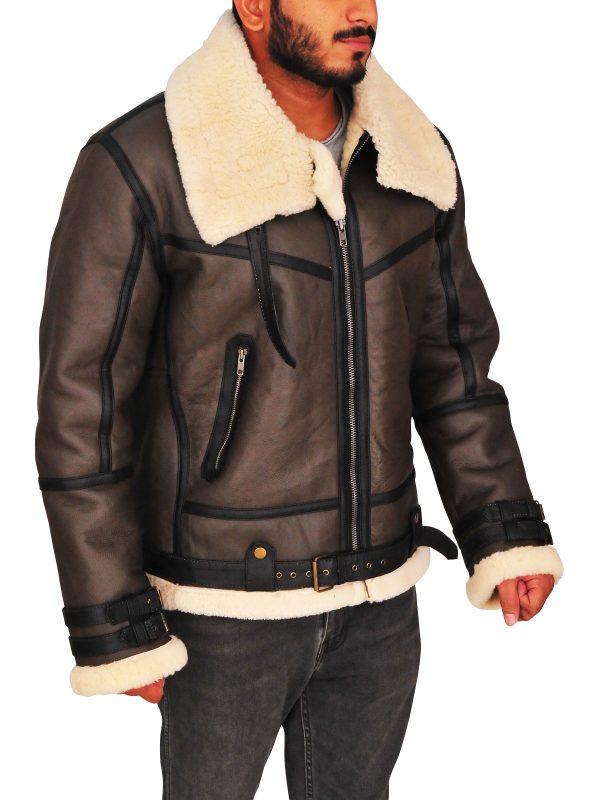 brown avaitor flying leather jacket, men avaitor bomber leather jacket,