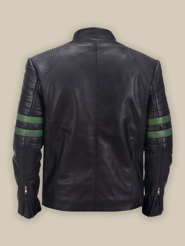 men pure black biker leather jacket