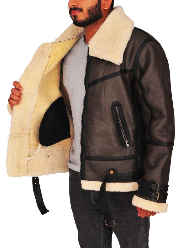 b3 bomber sheepskin leather jacket, men sheepskin leather jacket,