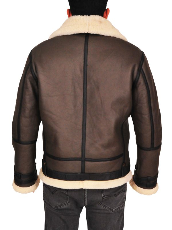 real sheep fur men leather jacket, sheepskin brown men leather jacket,