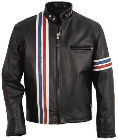 men rider motorcycle jacket, men black stripes rider leather jacket,