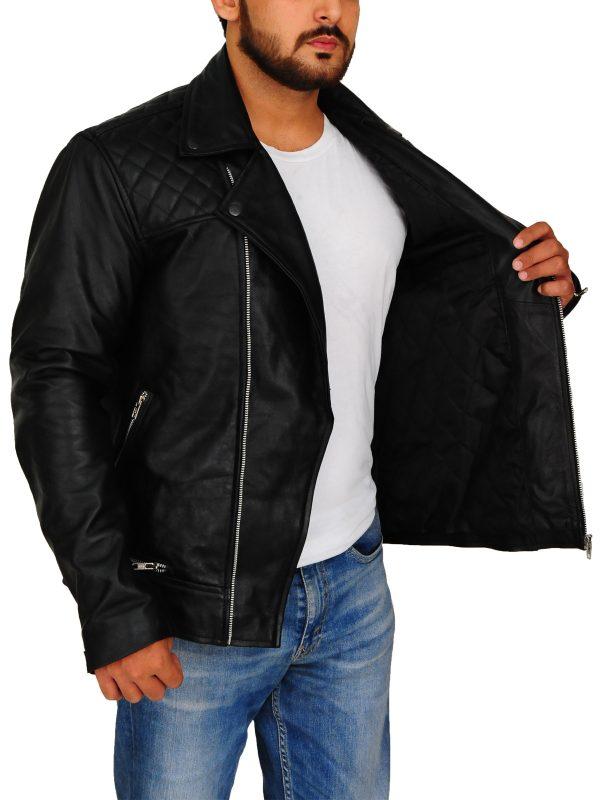 slim fit black brando leather jacket, slim fit black biker leather jacket,