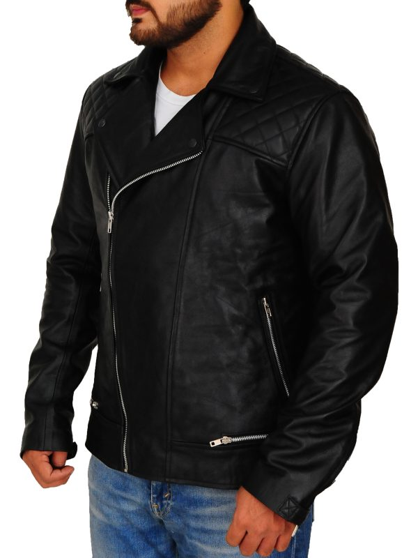 fashionable black men's leather jacket, trending men leather jacket,