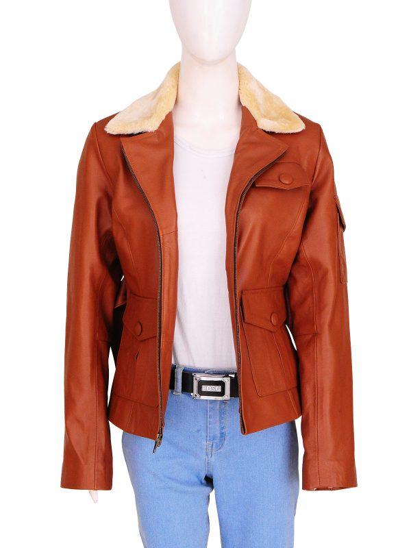 stylish fur collar women jacket, fur collar brown leather jacket,