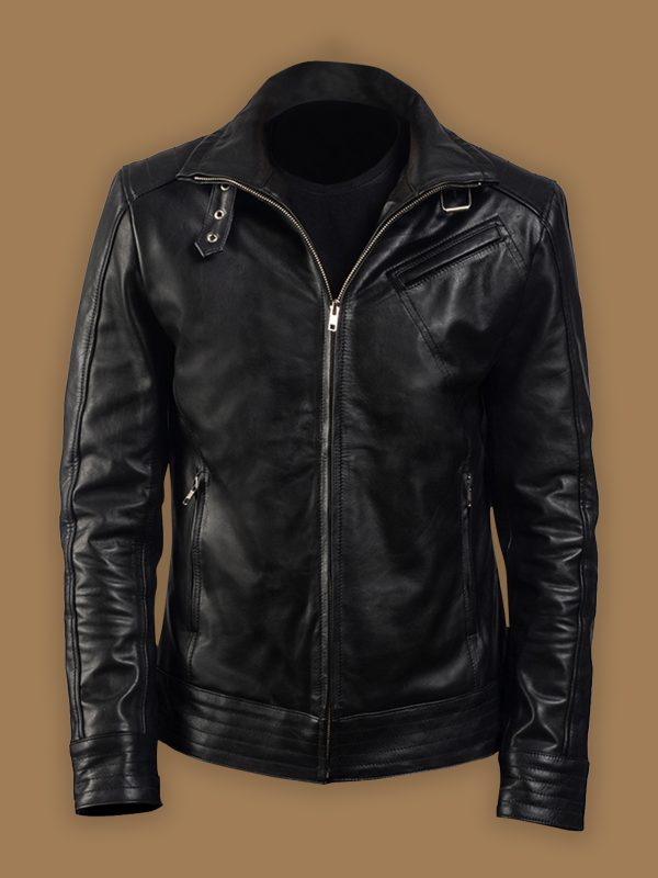 men pitch black leather jacket