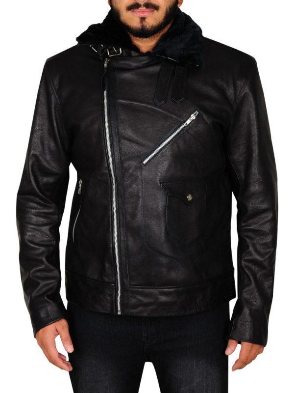 men black slim fit biker leather jacket, men's black biker leather jacket,