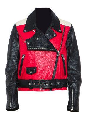 women black and red leather jacket, women brando leather jacket,