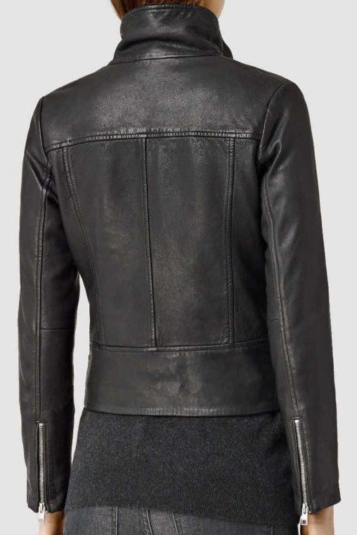 stylish black biker leather jacket, black biker leather jacket for women,