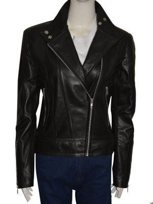 women brando leather jacket, women black leather jacket,