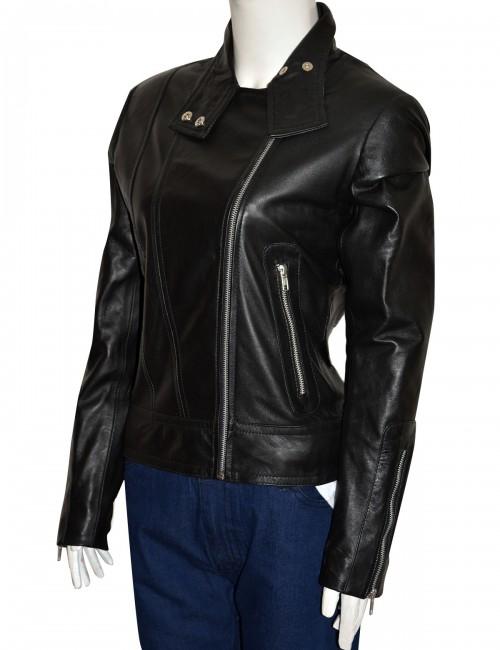 women biker leather jacket, women black biker leather jacket,