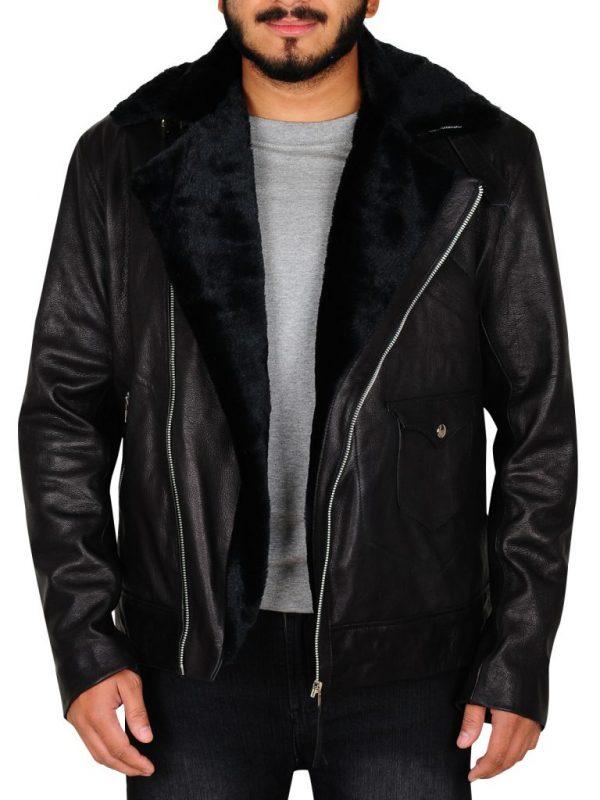 men black fur bomber leather jacket, men black motorcycle bomber leather jacket,