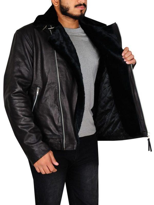 men fur lining black leather jacket, men black biker leather jacket,