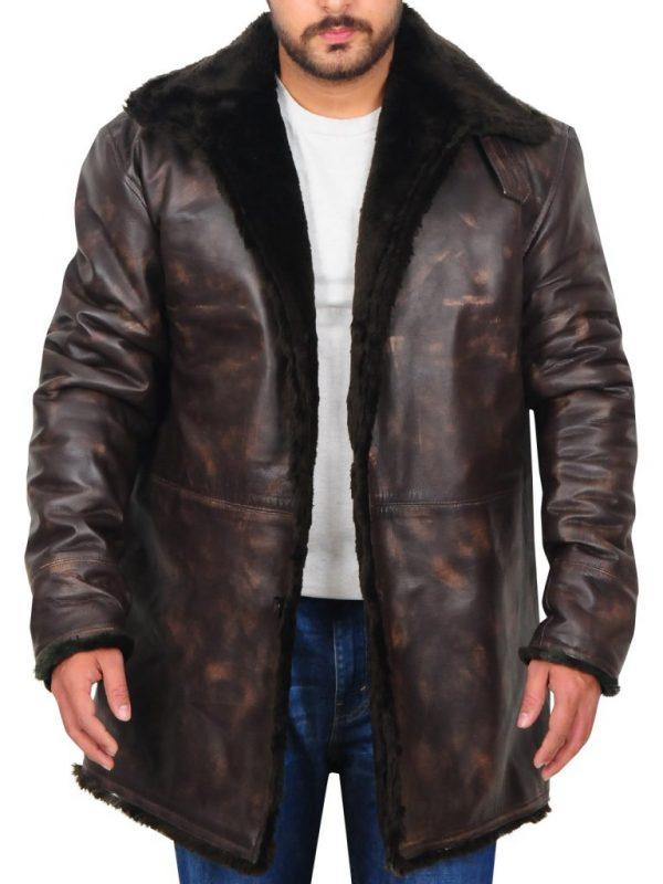 men distressed brown overcoat, men brown leather overcoat,