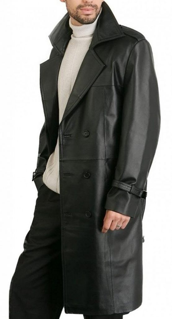 fashionable leather overcoat, men faux leather overcoat,