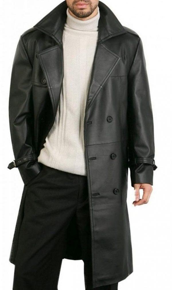 mauvetree leather overcoat, men biker leather overcoat,