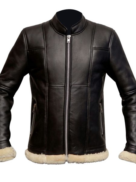 men slim fit biker leather jacket, men black fur lining jacket,