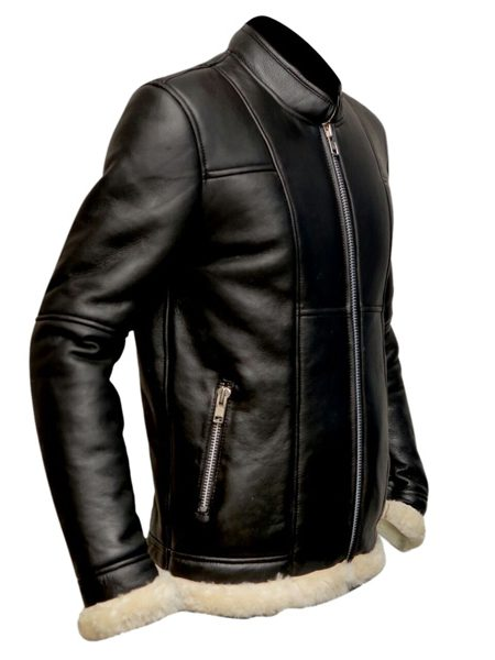 men black biker fur jacket, men biker fur leather jacket,