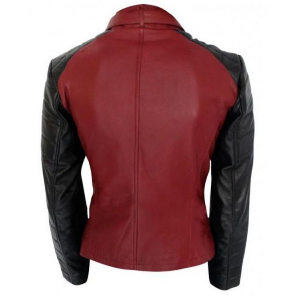 women snap tab collar leather jacket, stylish women red leather jacket,