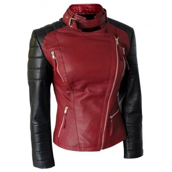 red and black women leather jacket, women leather jacket in red,
