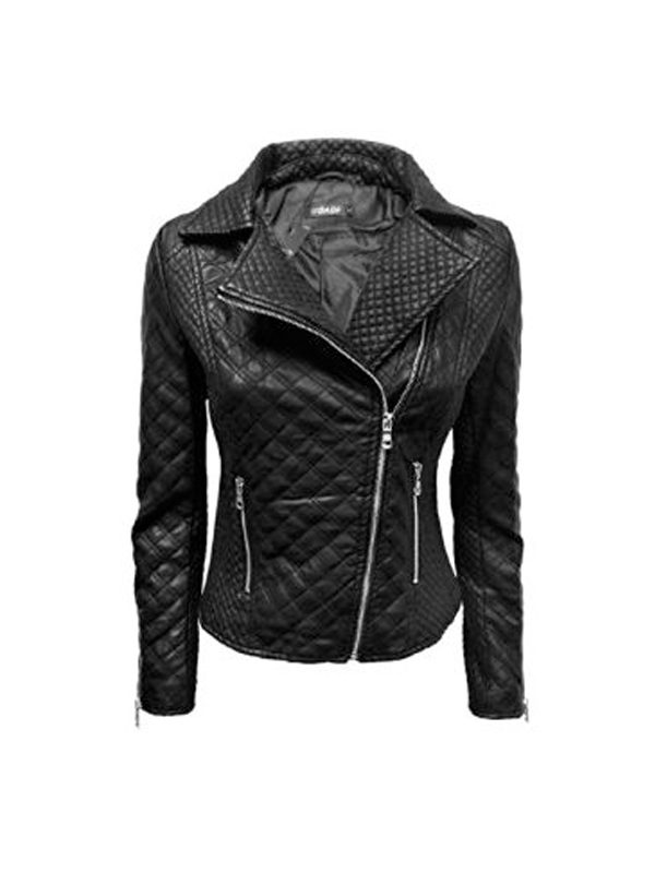 women black quilted leather jacket, black leather jacket for women,