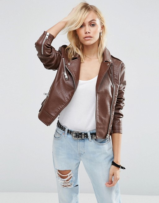 women brown brando leather jacket, brown brando leather jacket for women,