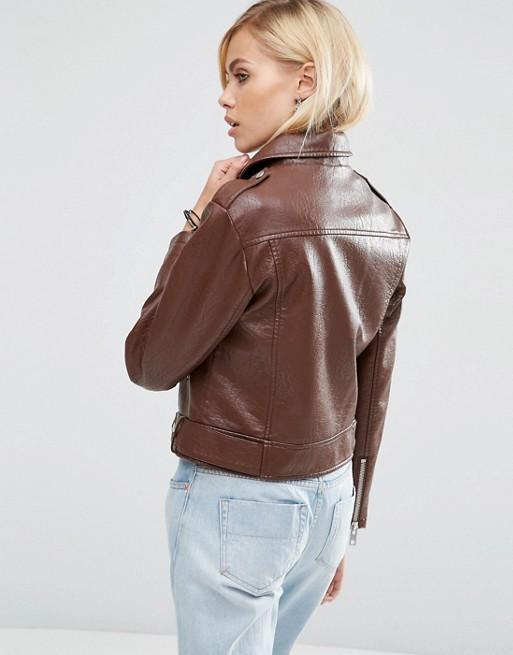 trending brown women leather jacket, trending women brown leather jacket,