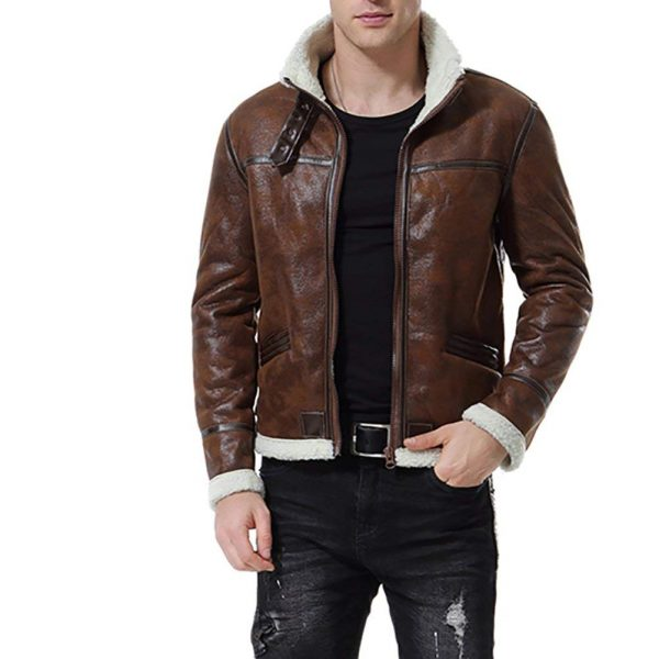 men brown bomber leather jacket, men fur collar leather jacket,