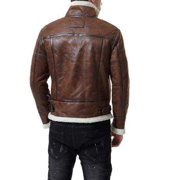 men motorcycle fur collar leather jacket, brown bomber leather jacket for men,