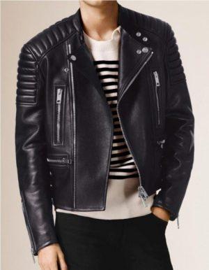 padded black biker leather jacket, men's black padded biker jacket,