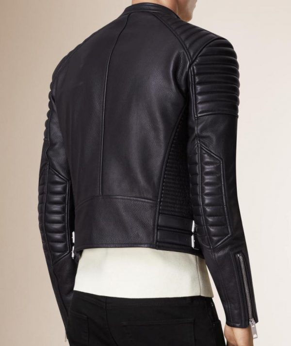 trending black biker leather jacket for men, men biker jacket with padding,