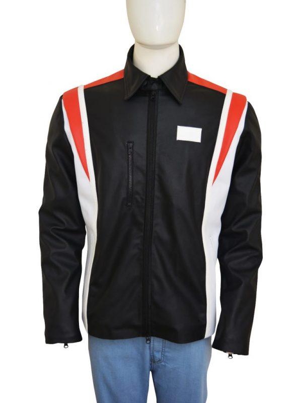 men multi color biker leather jacket, men mutli color leather jacket,