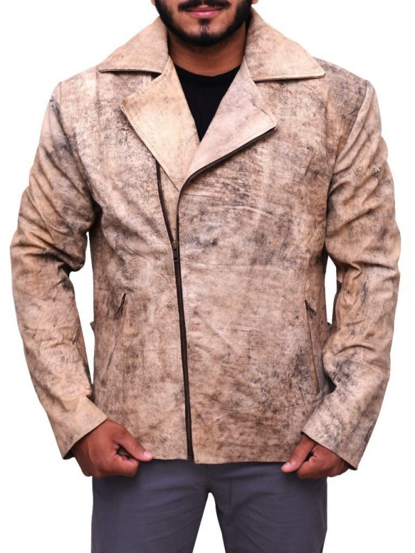 rub buff leather jacket, men distressed brown leather jacket,