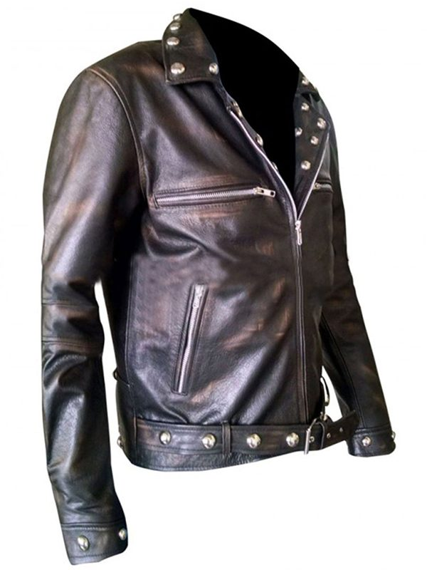 distressed black leather jacket, men distressed black jacket,