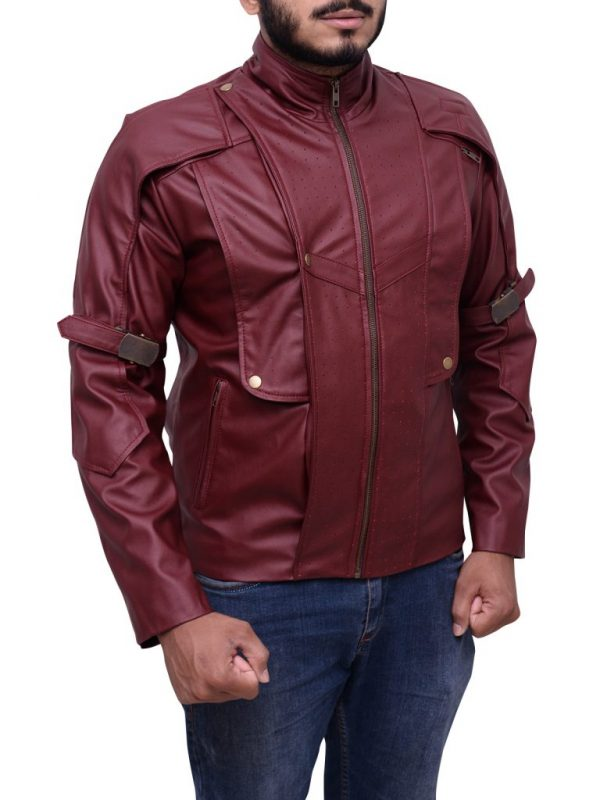 maroon guardians of the galaxy leather jacket, red guardians of the galaxy leather jacket,