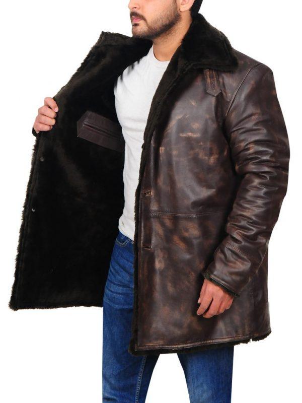 men's faux fur leather jacket, men leather jacket with fur collar,