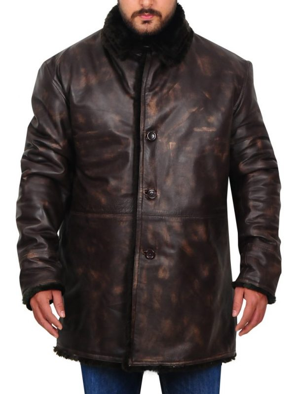 men winter leather jacket, men's brown leather jacket with faux fur collar,