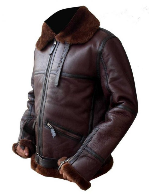 men brown b3 bomber leather jacket, men b3 bomber shearling leather jacket,