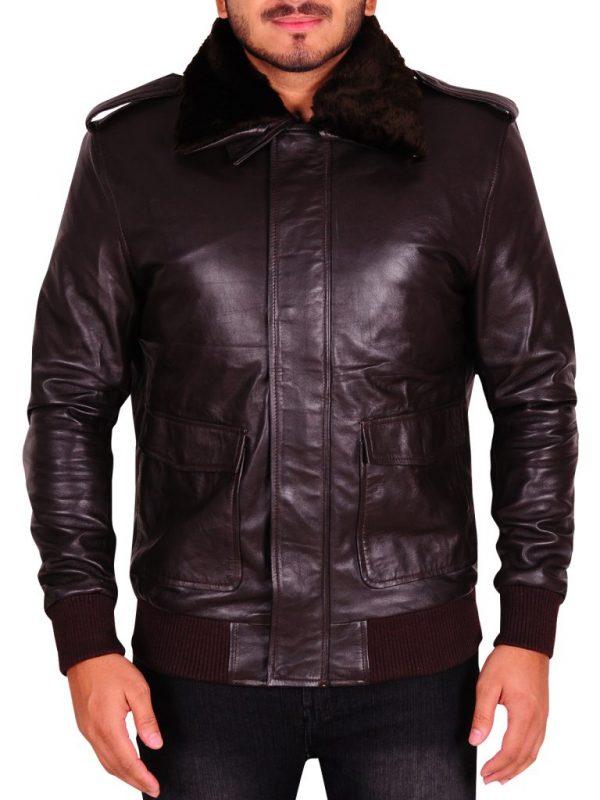 brown faux fur collar jacket, men brown fur collar jacket,