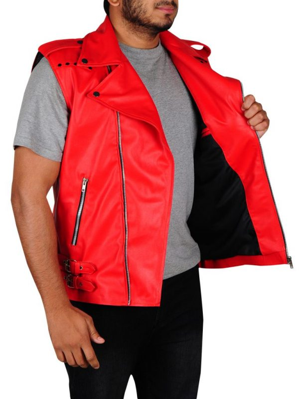 red leather vest, red leather vest is for men,