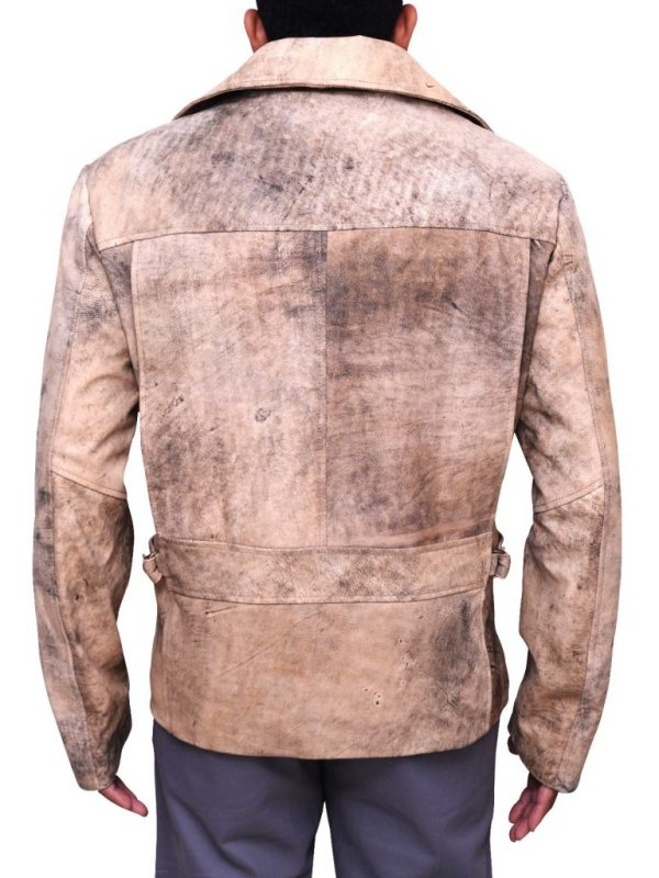 mauvetree distressed brown leather jacket, bikber distressed leather jacket,