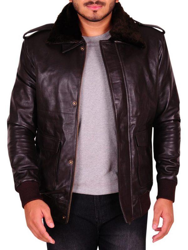 men brown fur collar leather jacket, dark brown fur collar jacket,
