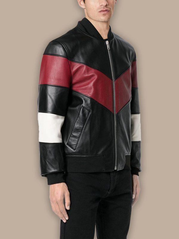 men chevron stripes bomber jacket
