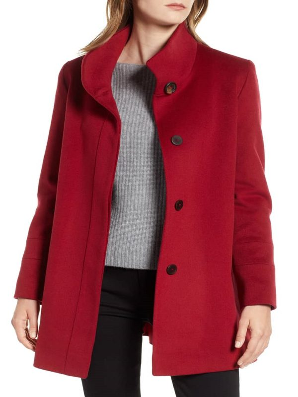 fashionable red coat