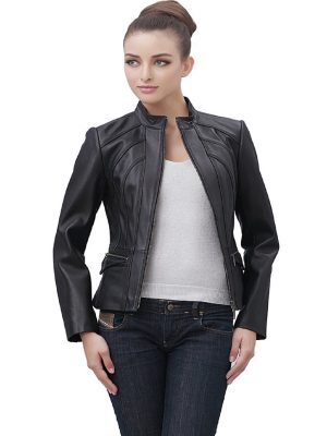 women jet black leather jacket