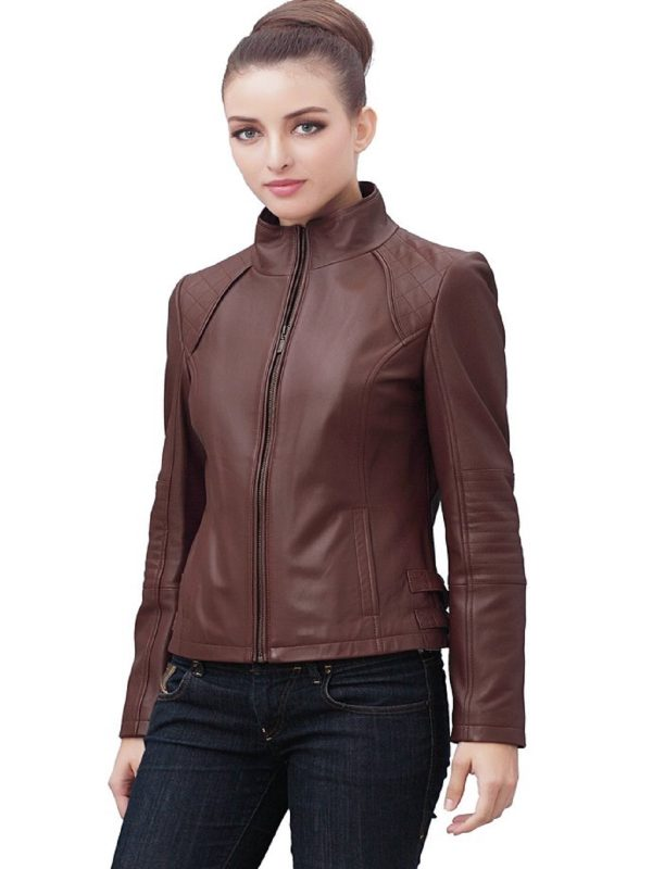 women brown biker jacket