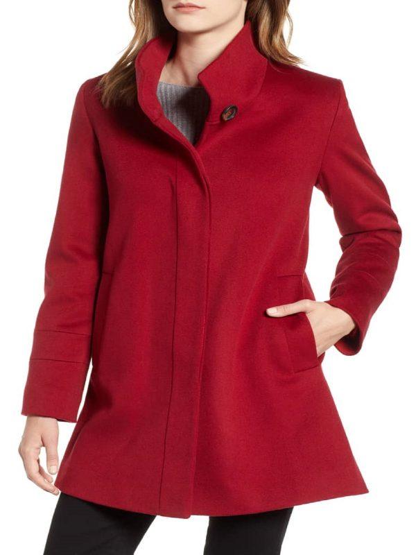 women red wool coat