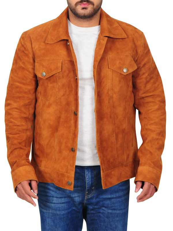 men's brown suede leather jacket, men's suede leather jacket,