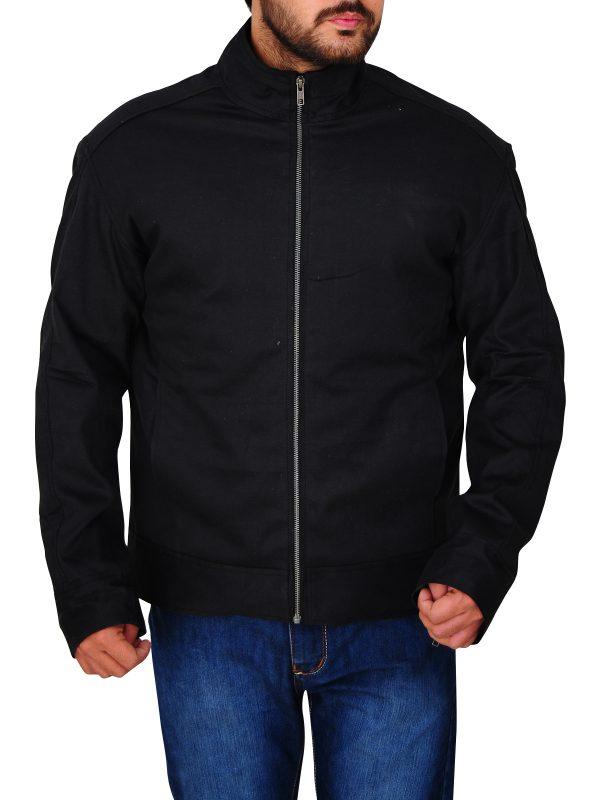 black cotton jacket, men black jacket,